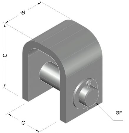 welded beam attachment with load pin